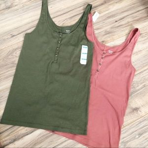 Bundle of Old Navy Fitted Henley Tank Tops Large